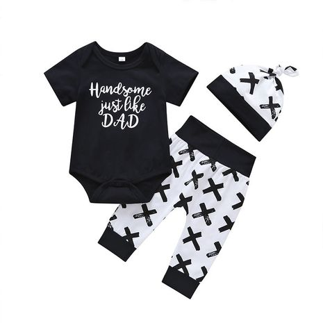 Baby Long Sleeve Romper Black Pattern Trousers Three-piece Summer Wear Hot-saling NHLF264404's discount tags