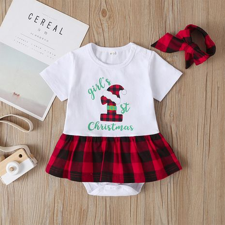 baby Christmas jumpsuit short-sleeved plaid alphabet triangle romper NHLF264411's discount tags