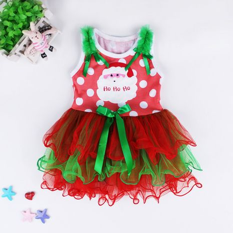 Santa Claus sleeveless mesh princess dress NHLF264413's discount tags