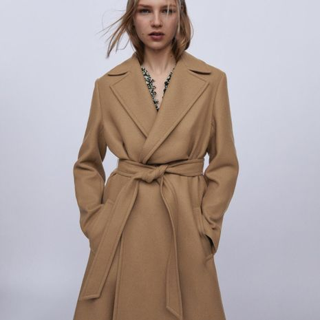 autumn and winter new women's assembly belt mid-length coat jacket wholesale NHAM264419's discount tags