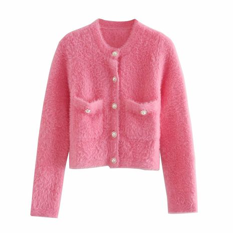 women's pearl buckle long-sleeved soft waxy plush thick knitted jacket  NHAM264421's discount tags