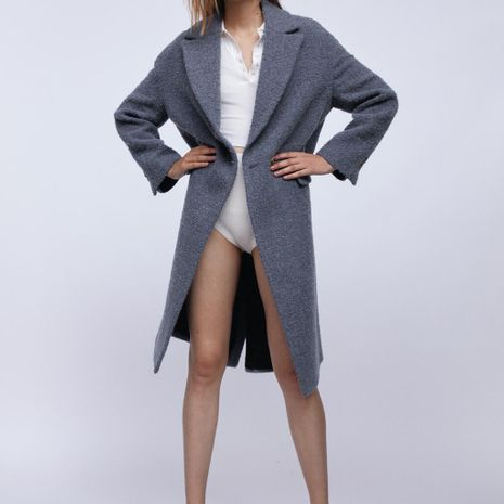 new women's casual fashion double-breasted mid-length coat wholesale NHAM264430's discount tags