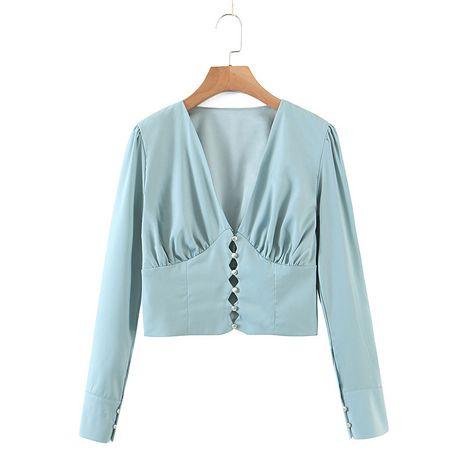 autumn sexy retro V-neck double layer women's chiffon shirt wholesale  NHAM264441's discount tags