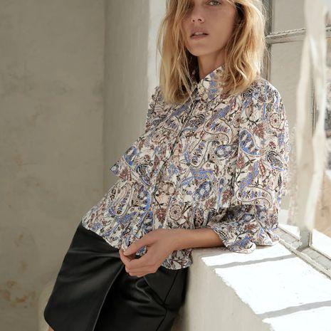 Autumn Print Women's Chiffon Shirt Blouse Wholesale NHAM264451's discount tags