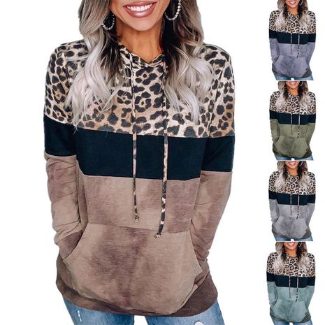 Autumn/Winter women's leopard print loose hooded long-sleeved sweater NHWA264685's discount tags
