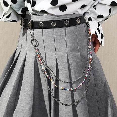 new rice bead beaded trend hip-hop style metal trouser chain multilayer waist chain wholesale NHAU264640's discount tags