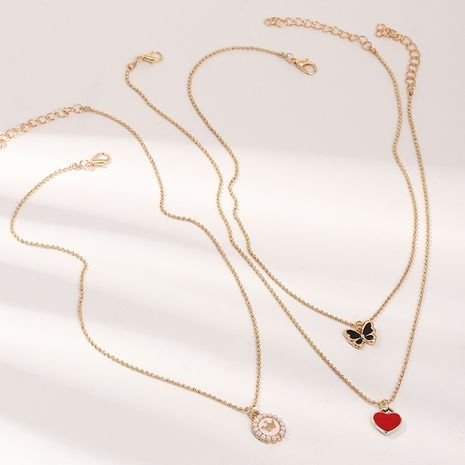 children's all-match cute dripping butterfly heart pendant pearl necklace NHNU264651's discount tags