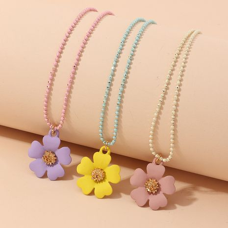 children's colorful flower Korean round bead chain cute pearl pendant necklace NHNU264652's discount tags