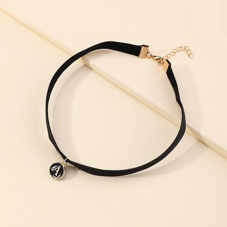 autumn and winter geometric fabric chain metal letter A pendant alloy black necklace  NHNU264654's discount tags
