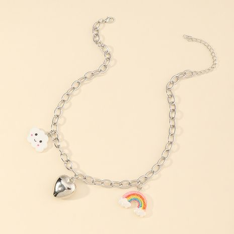 new children's cloud rainbow heart pendant cute all-match beach style necklace NHNU264655's discount tags