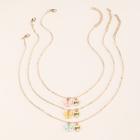 creative fashion new small butterfly necklace 3-piece set for women NHNU264656's discount tags