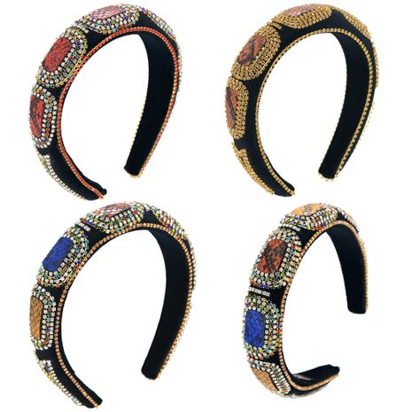 Baroque colorful diamond pearl cotton sponge rhinestone crocodile leather mix and match three-color prom headband NHCO264661's discount tags