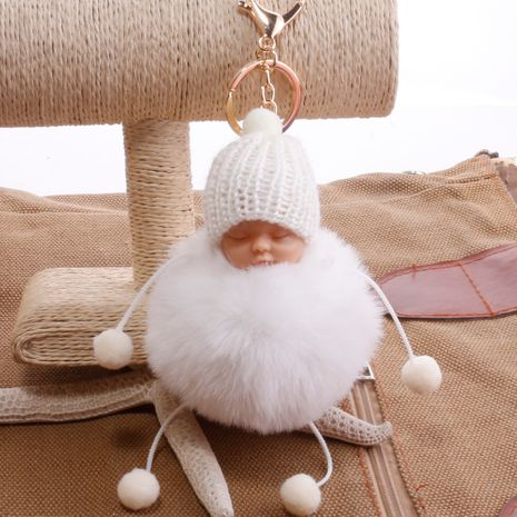 Jolie boule de cheveux de poupée endormie imitant le rex lapin fourrure sac de paille pendentif porte-clés NHDI264664's discount tags