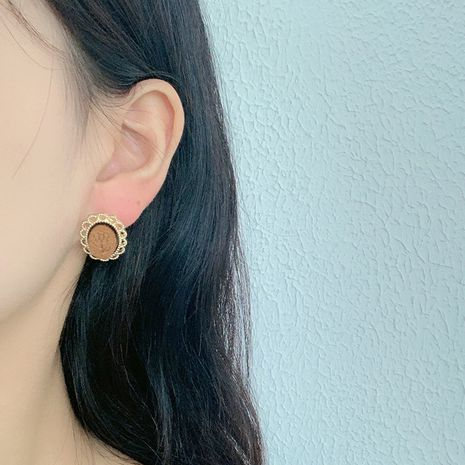 Fashion new retro autumn wood earrings for women hot-saling wholesale NHRN264670's discount tags