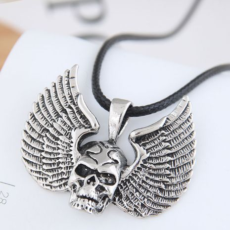 New fashion retro simple skull wings exaggerated alloy necklace wholesale NHSC254005's discount tags