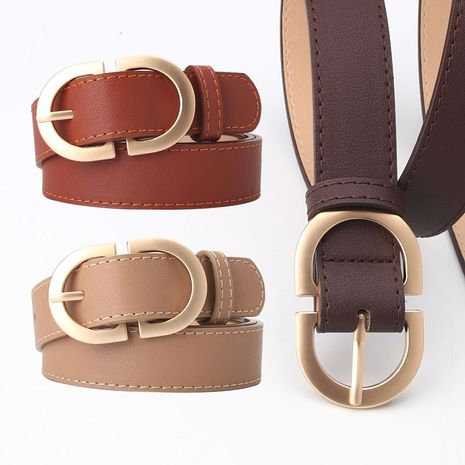 casual double loop pin buckle simple wild jeans belt NHJN253324's discount tags