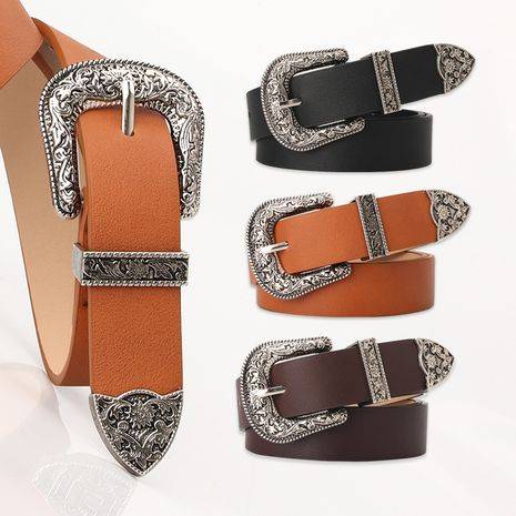 fashion carved buckle  elegant retro pin buckle belt jeans belt wholesale NHJN253327's discount tags