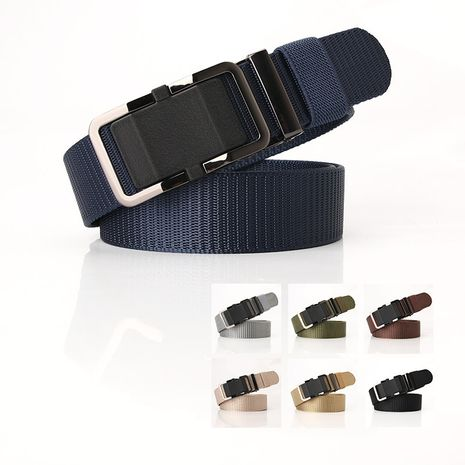 Fashion nylon belt toothless alloy automatic buckle men's belt wholesale NHJN253328's discount tags