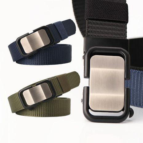 New nylon belt toothless automatic buckle men's belt wholesale NHJN253329's discount tags