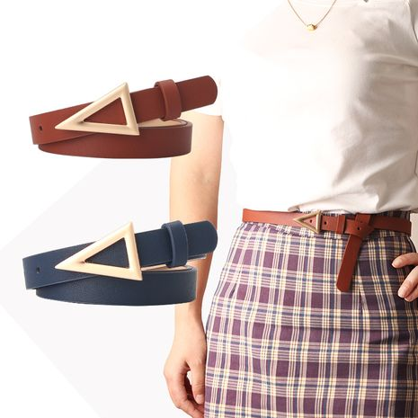 Ladies belt triangle buckle belt snap buckle fashion all-match dress belt  NHJN253330's discount tags