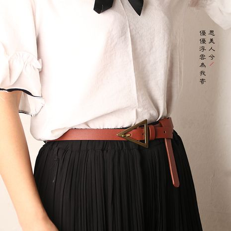 fashion triangle buckle thin belt personality decorative belt NHJN253331's discount tags