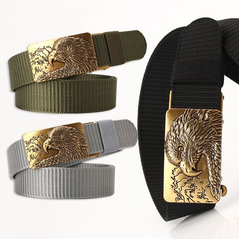 Fashion tank pattern nylon belt toothless eagle head alloy buckle sports pants belt NHJN253333's discount tags