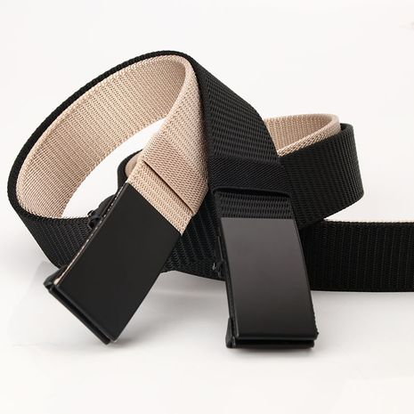 Nylon canvas toothless automatic buckle belt outdoor sports leisure business belt  NHJN253334's discount tags