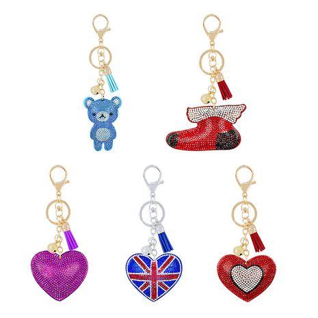 cadeaux nouveau diamant en alliage de velours porte-clés pendentif pêche coeur ours accessoires de noël NHAP253351's discount tags