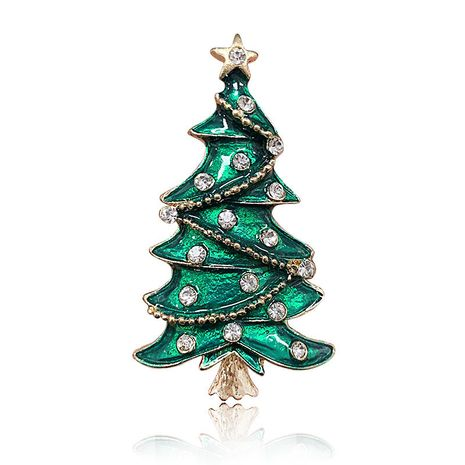 color alloy diamond-encrusted Christmas tree drip enamel brooch wholesale NHAP253352's discount tags