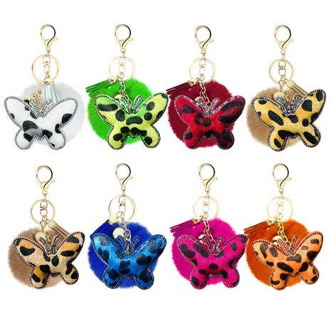 Nouveau porte-clés en métal papillon en velours coréen clouté de diamants et imprimé léopard en gros NHAP253355's discount tags