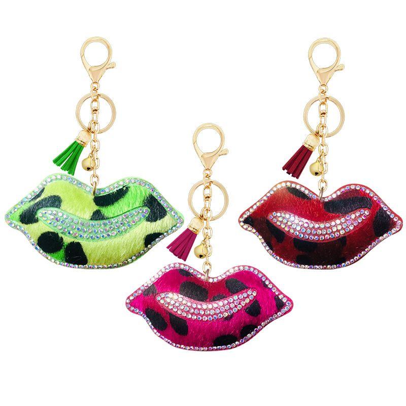 Korean Velvet Diamond Lip Jewelry Accessories Leopard Lip Keychain Key Chain Pendant Car Luggage Ornaments NHAP253356