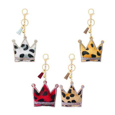 Porte-clés en forme de couronne en velours coréen à imprimé léopard et diamants chauds NHAP253357's discount tags
