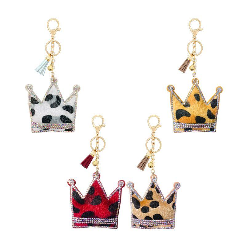 hot diamond-studded leopard print Korean velvet crown shape key chain  NHAP253357