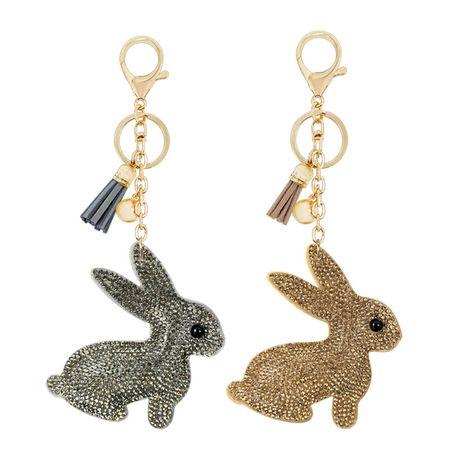Pendentif porte-clés lapin serti de diamants pour enfants mignons nouveau porte-clés pompon en velours en gros NHAP253359's discount tags