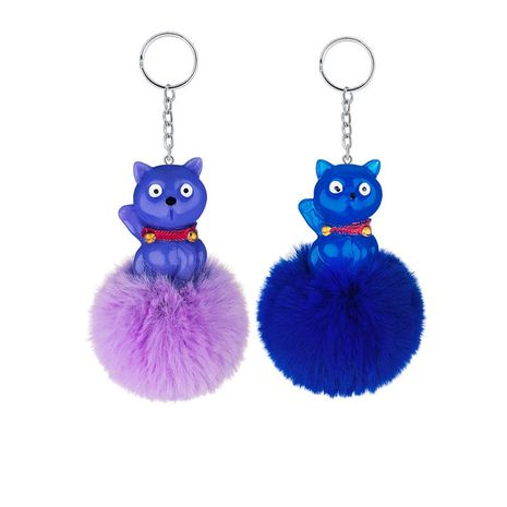 New Kitten Bear Hair Ball Pendant Creative Pompom keychain wholesale NHAP253365's discount tags