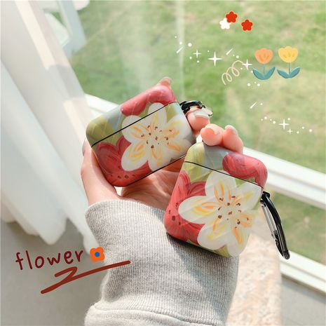 Funda protectora de flor roja blanca simple para Apple Airpods Pro auriculares inalámbricos Bluetooth Airpods 1 2 NHFI253429's discount tags