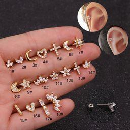 Venta caliente Zircon Acero inoxidable Uñas de hueso de oreja Micro incrustaciones de pendientes de tornillo de girasol al por mayor NHEN253448