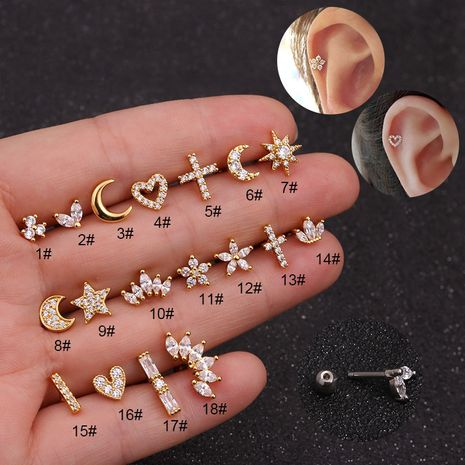 Hot Selling Zircon  Stainless Steel Ear Bone Nails  Micro Inlaid Sunflower Screw earrings  Wholesale NHEN253448's discount tags