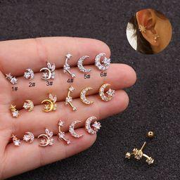 new   stainless steel double-head screw earrings NHEN253451