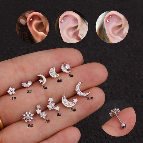 Pendientes de flor de acero inoxidable con micro incrustaciones de circón populares al por mayor NHEN253450's discount tags