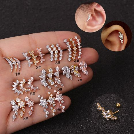 aretes de acero inoxidable con estrella de cinco puntas y circonitas NHEN253449's discount tags
