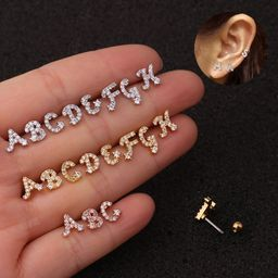26 English alphabet micro-inlaid zircon screw earrings  NHEN253452