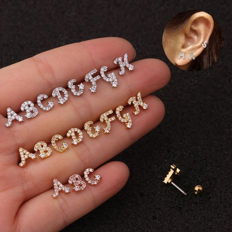 26 English alphabet micro-inlaid zircon screw earrings  NHEN253452's discount tags