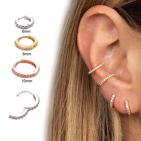 New  zircon ear buckle micro inlaid round small earrings NHEN253447's discount tags