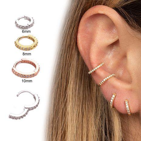 Nuevos aretes pequeños redondos con micro incrustaciones con hebilla de oreja de circón NHEN253447's discount tags