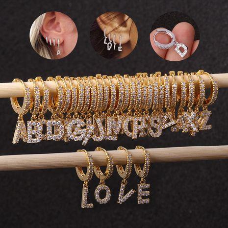 Hot Sale Zircon 26 Boucles d'oreilles alphabet anglais NHEN253458's discount tags