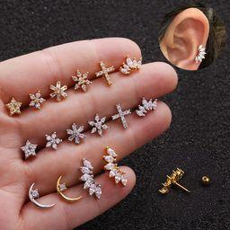 Hot selling  earrings zircon earrings stainless steel earrings NHEN253460
