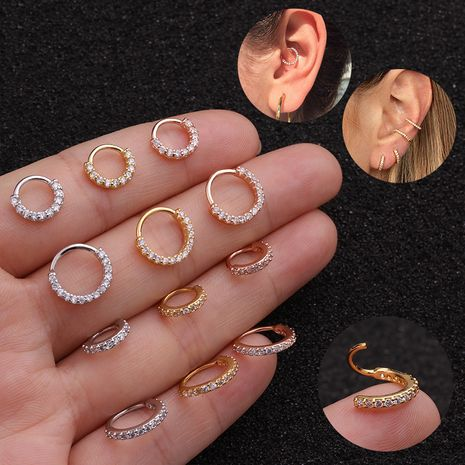 fashion simple  zircon cartilage earrings  NHEN253461's discount tags