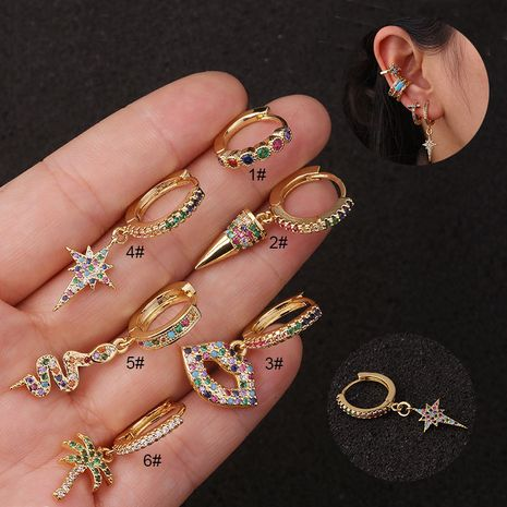 Bohemian style piercing  creative color  fashion star earrings  NHEN253463's discount tags