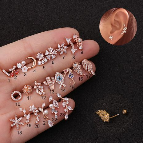 new hot sale  piercing creative hippocampus screw earrings NHEN253464's discount tags